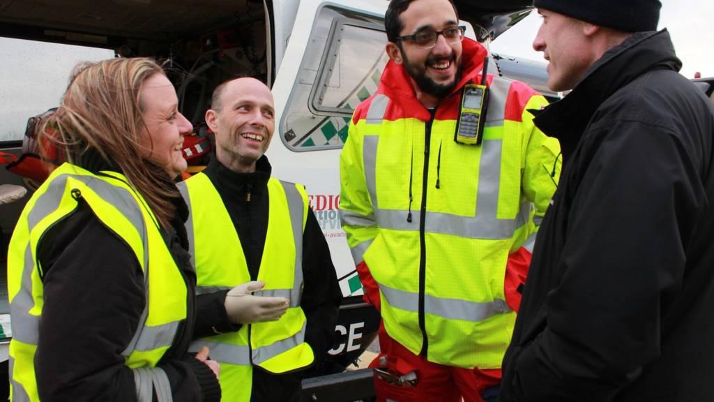 Michael Birch meeting air ambulance crew
