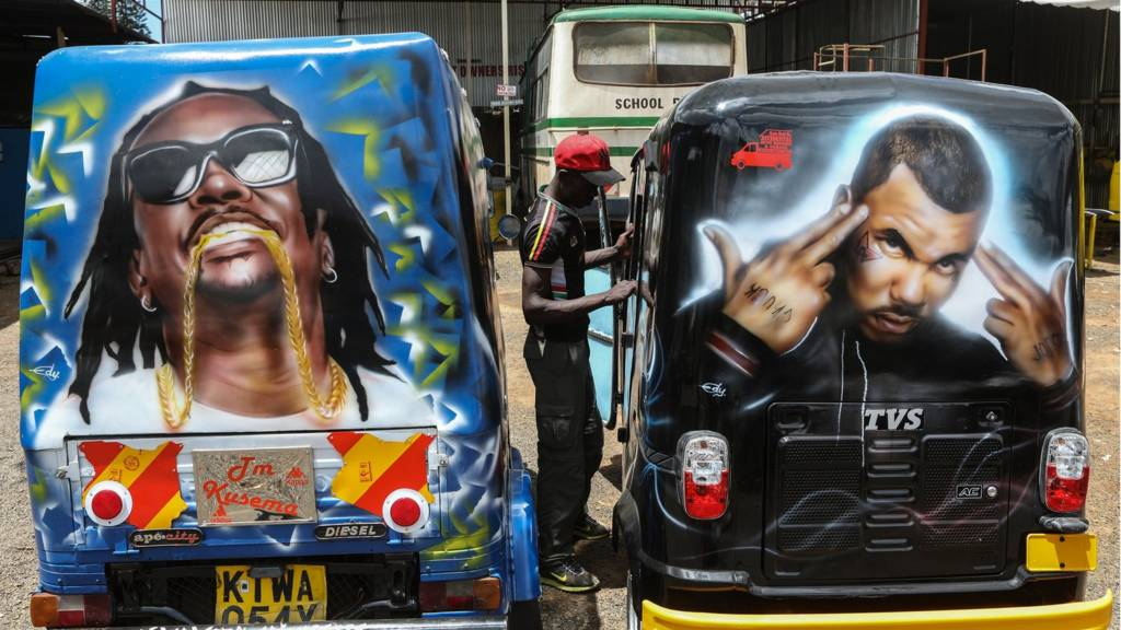 Spray-painted matatus in Kenya
