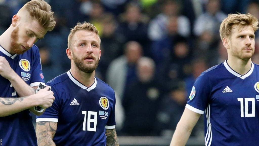 Scotland players after losing to Kazakhstan