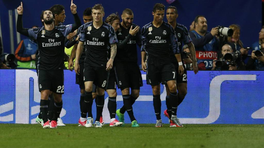 Real Madrid celebrate scoring their goal