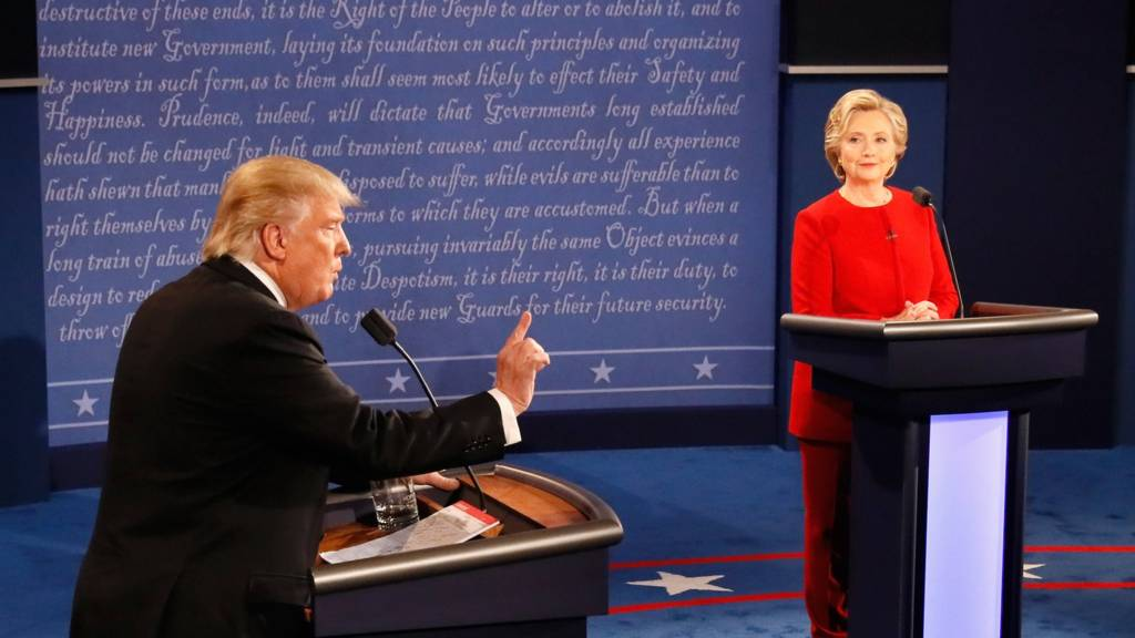 Donald Trump and Hillary Clinton in the first debate