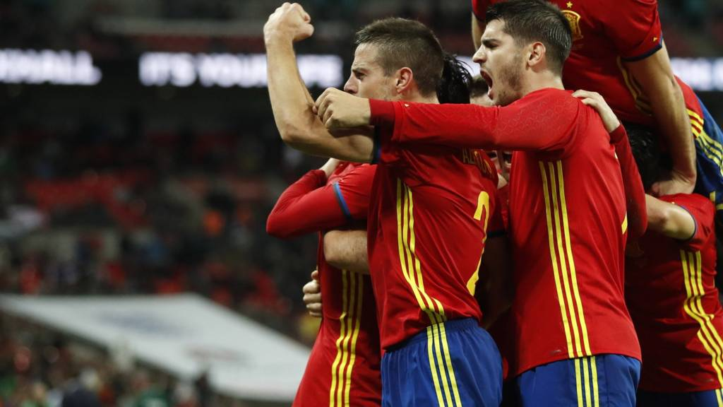 Spain's players celebrate