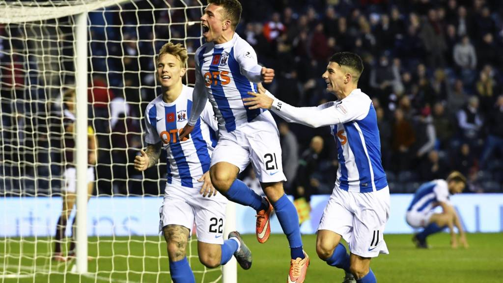 Kilmarnock's Adam Frizzell (centre) celebrates his winner