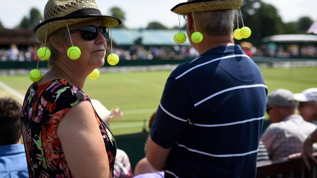 Fans watch play at Wimbledon