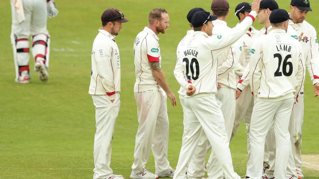 Lancashire celebrate wicket