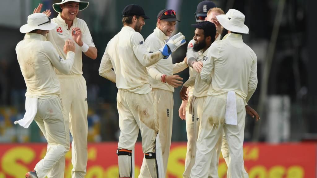 England celebrate Adil Rashid running out Rangika Silva