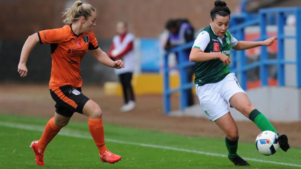 Glasgow City's Megan Foley and Hibernian Ladies' Amy Gallacher