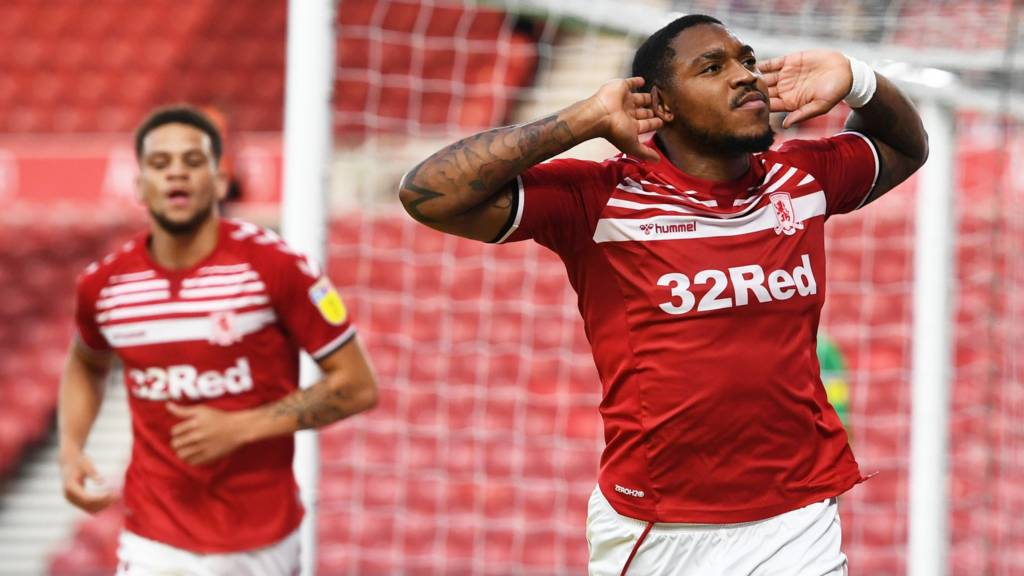 Middlesbrough's Britt Assombalonga celebrates his goal against Wigan