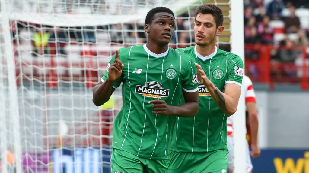 Dedryck Boyata celebrates scoring for Celtic