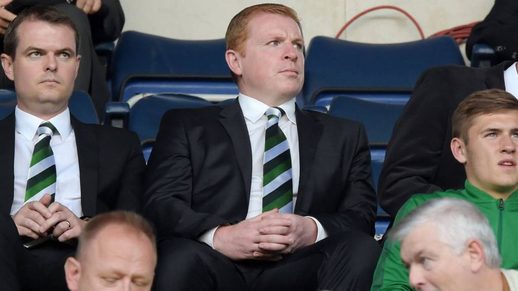 Hibernian manager Neil Lennon (centre) was sent to the stand