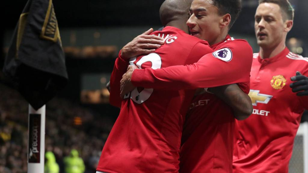Jesse Lingard and Ashley Young celebrate