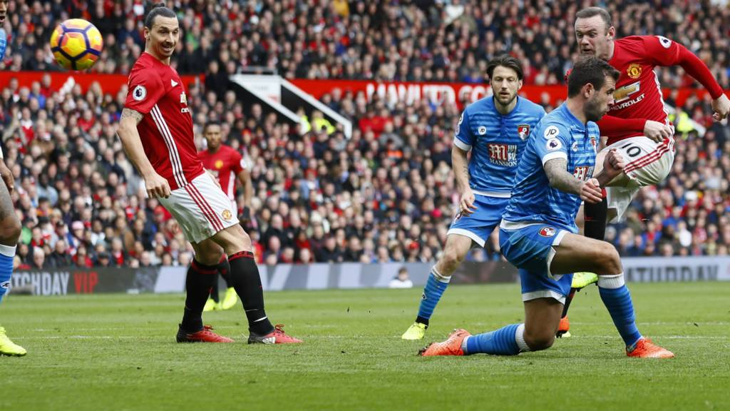 Manchester United's Wayne Rooney sees his shot saved