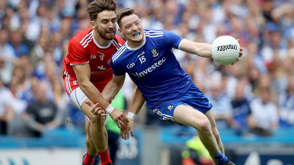 Conor McManus tries to get away from Padraig Hampsey at Croke Park