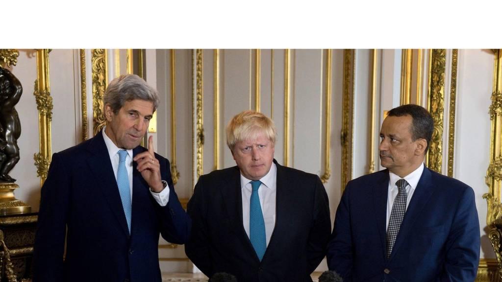 نماینده سازمان ملل در یمن و وزیران خارجه بریتانیا و آمریکا