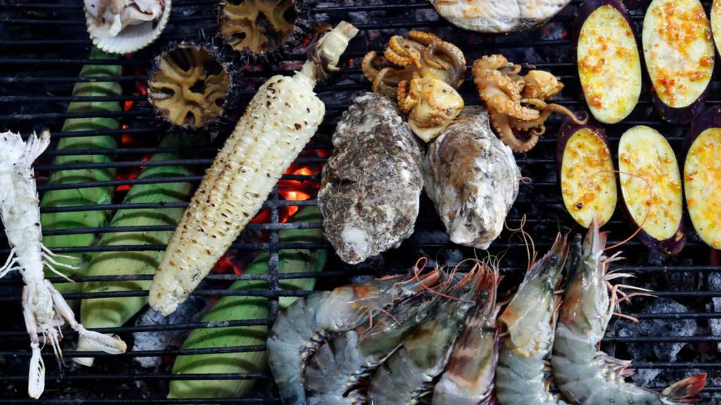 Seafood on a grill