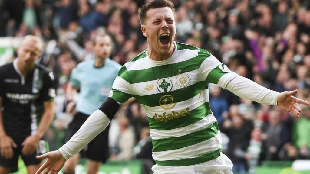 Callum McGregor celebrates scoring for Celtic against Hibs