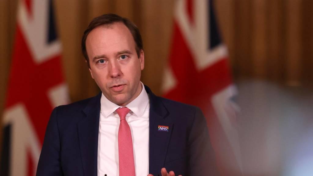 Health Secretary, Matt Hancock speaks at the government coronavirus briefing at Downing Street on 5 March 2021