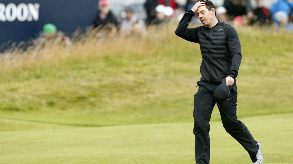 Rory McIlroy looks frustrated