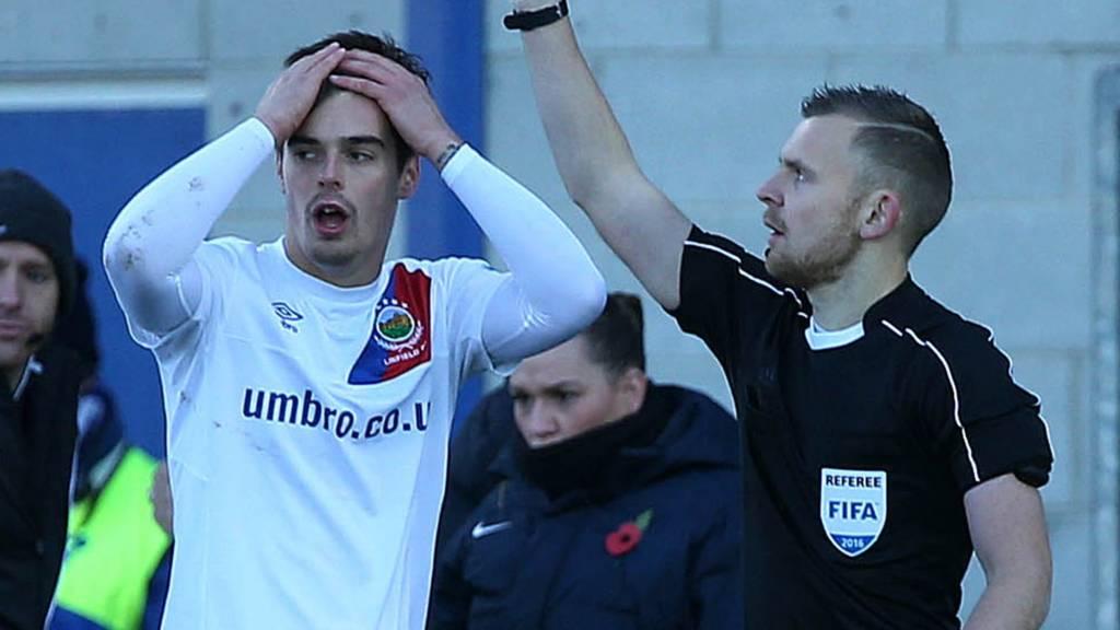 Linfield's Matthew Clarke is sent-off