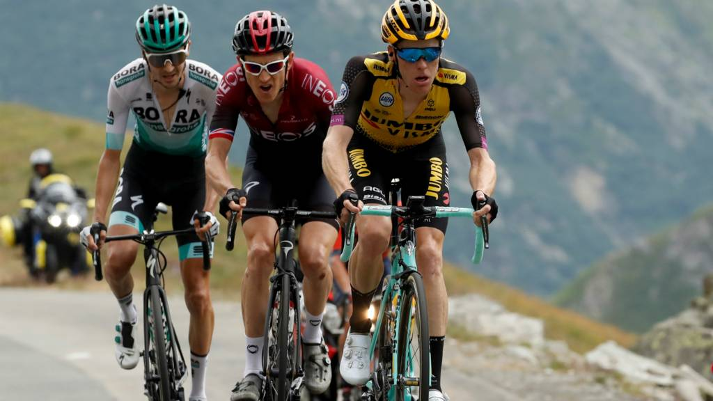 Emanuel Buchmann of Germany, Team INEOS rider Geraint Thomas of Britain and Team Jumbo-Visma rider Steven Kruijswijk