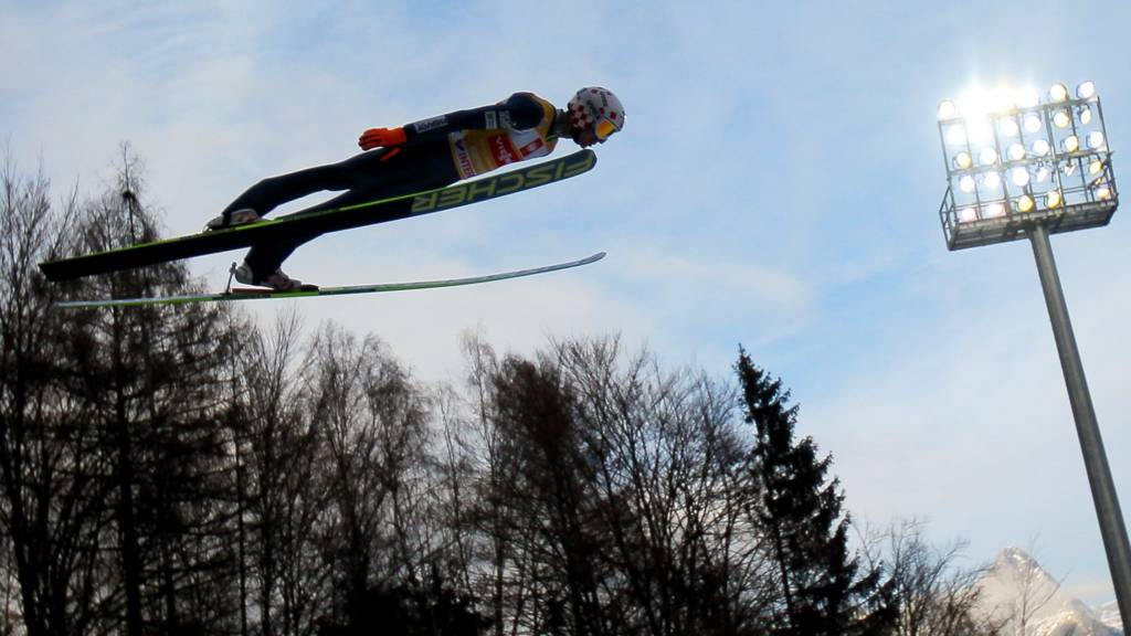 A ski jumper in action