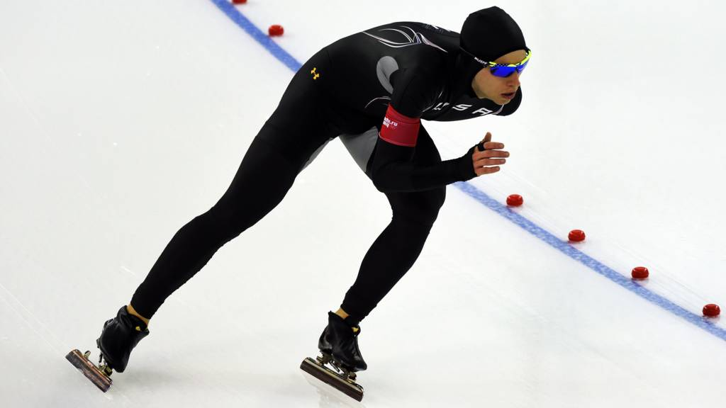 US speed skater Patrick Meek in action