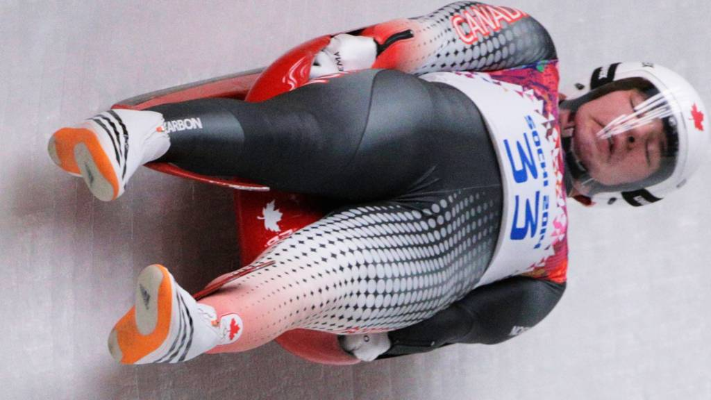 Mitchel Malyk in action for Canada in the men's Luge