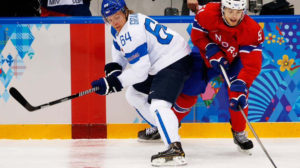 Finland's Mikael Granlund and Norway's Mats Olsen Rosselli