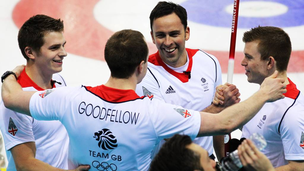 Team GB curlers celebrate