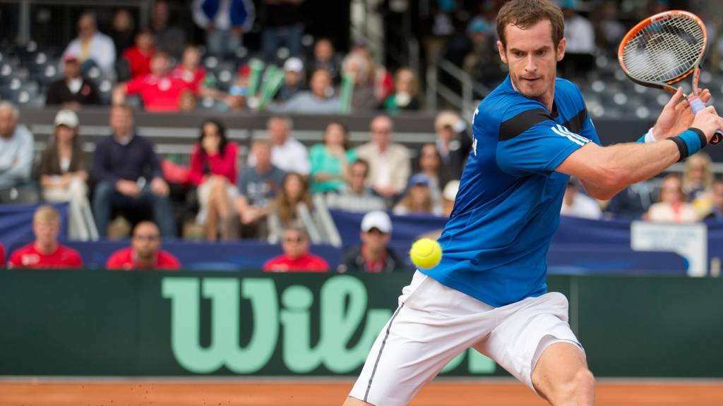 Andy Murray in action in the Davis Cup