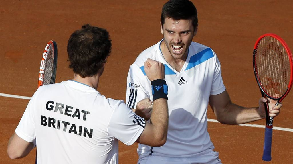 Andy Murray and his teammate Colin Fleming celebrate