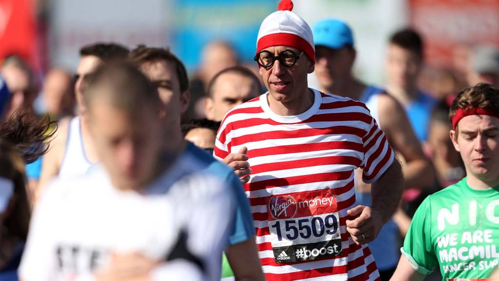 Runner dressed as Where's Wally