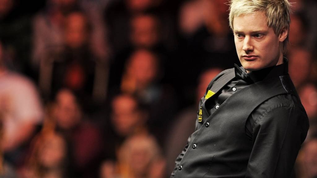 Neil Robertson during the first round of the World Snooker Championship