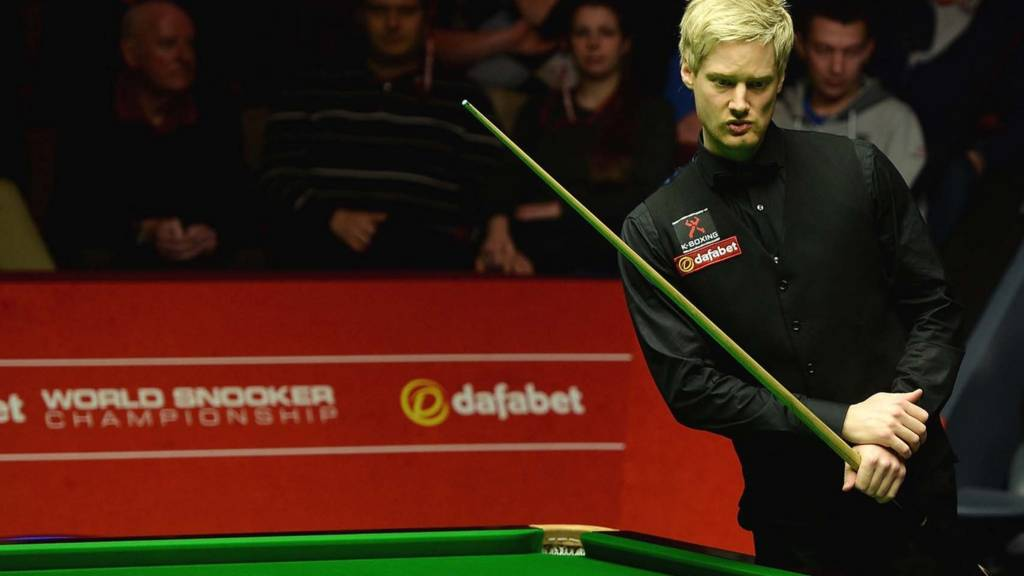 Neil Robertson eyes his next shot as Mark Selby sits in the foreground