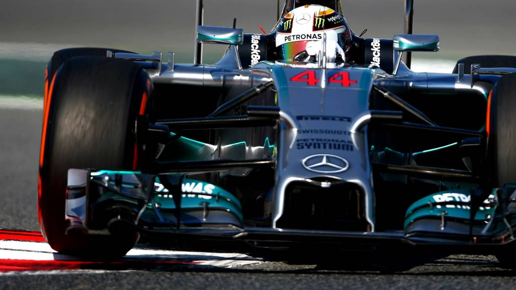 Lewis Hamilton wrestles his Mercedes around during practice for the Spanish Grand Prix