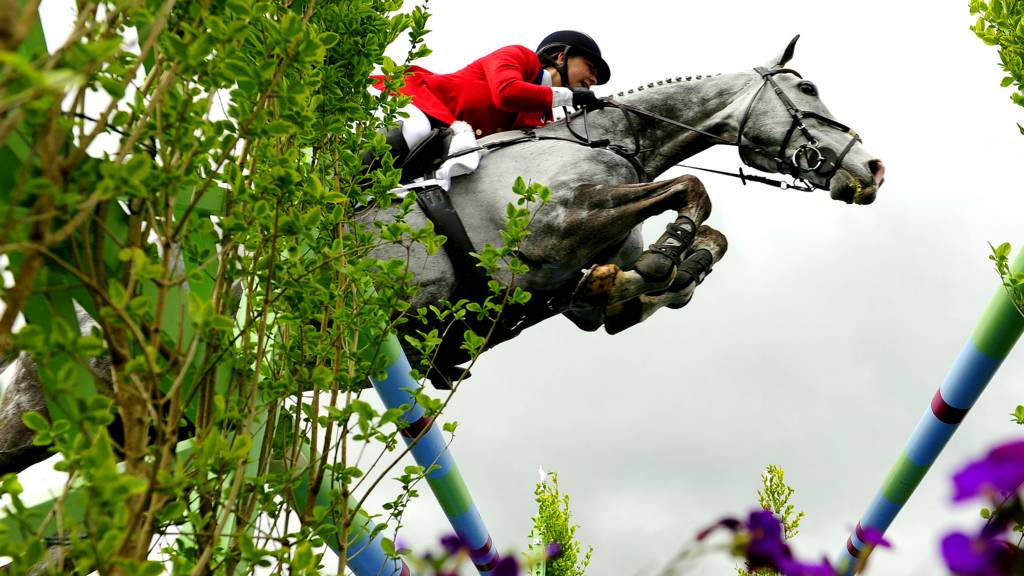 Tiana Coudray of the USA at the Badminton Horse Trials