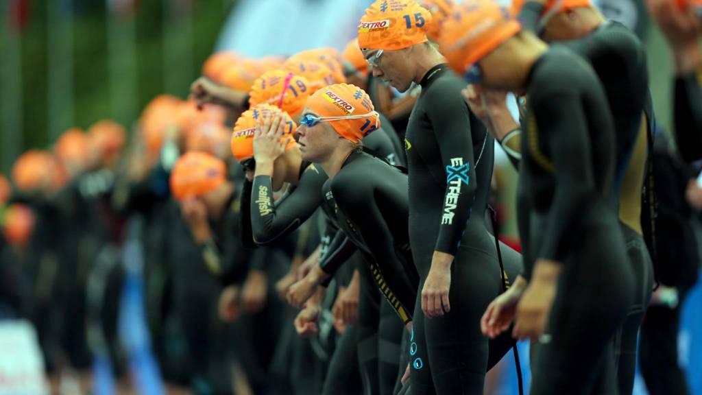 Athletes prepare for the start of the Elite Women's World Triathlon Grand Final London