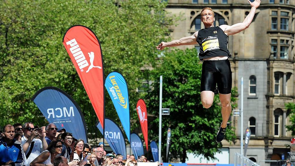 Greg Rutherford in action during the long jump of the 2014 Great City Games