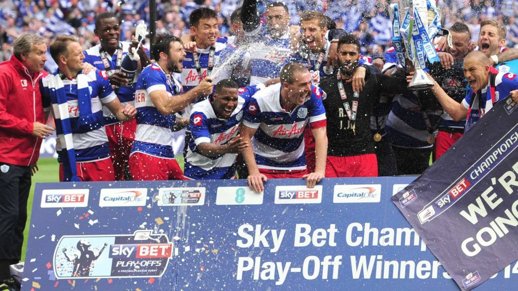 QPR lift the championship playoff final trophy