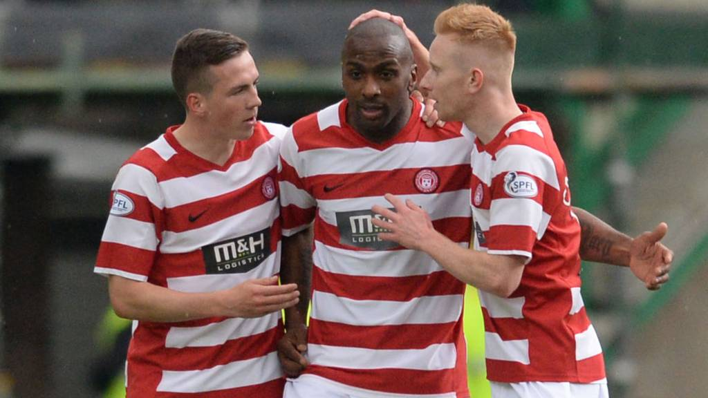 Jason Scotland (centre) put Hamilton ahead