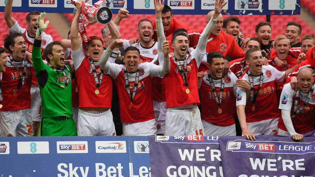 Fleetwood celebrate winning promotion at Wembley