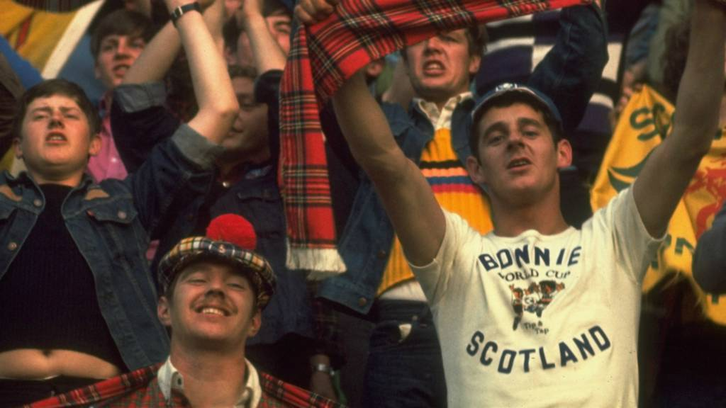 Scotland supporters prepare to welcome their team to the pitch in the 1978 World Cup clash against Netherlands