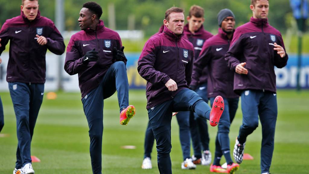 England stars Wayne Rooney, Danny Welbeck, Tim Cahill, Phil Jones and Daniel Sturridge train ahead of their match against Peru
