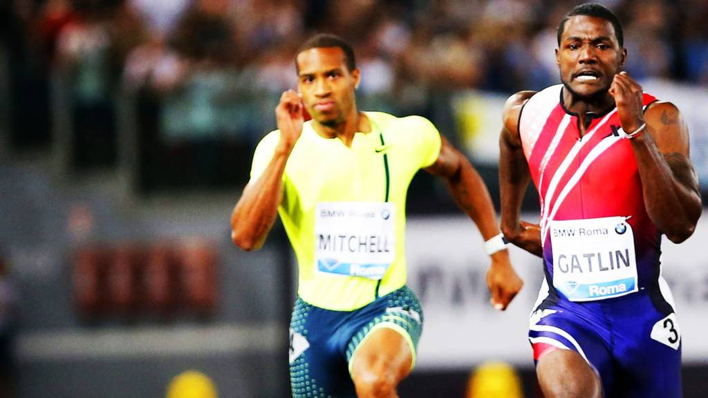 Justin Gatlin and Maurice Mitchell in the 100m in Rome