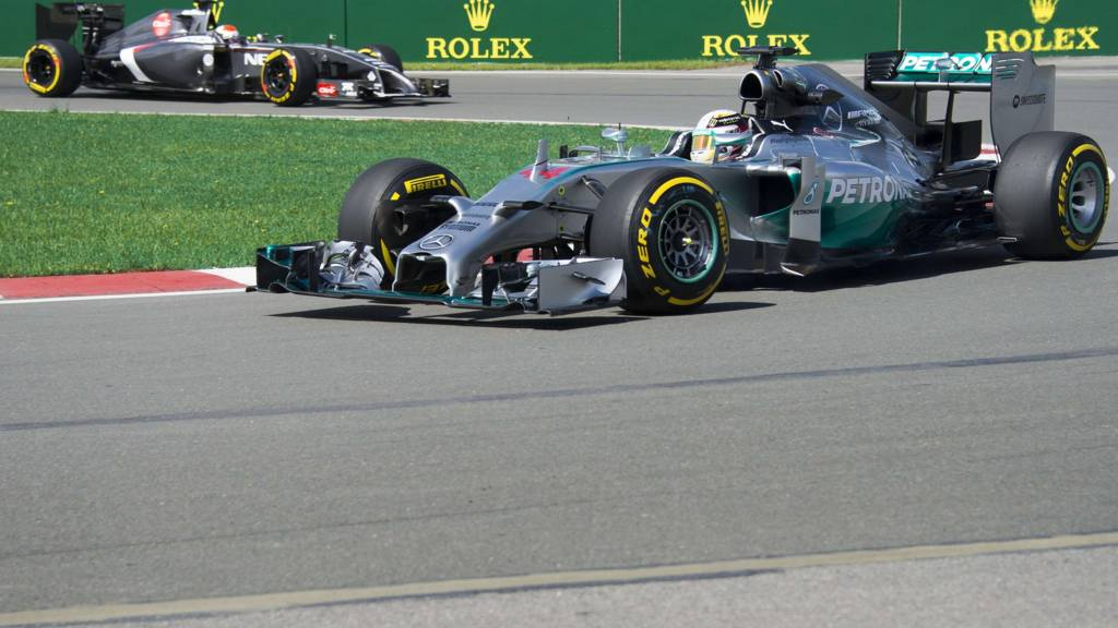 Lewis Hamilton of Great Britain takes the hairpin turn