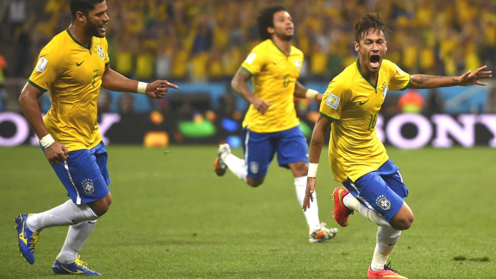 Neymar celebrates after scoring his first goal of the 2014 Fifa World Cup
