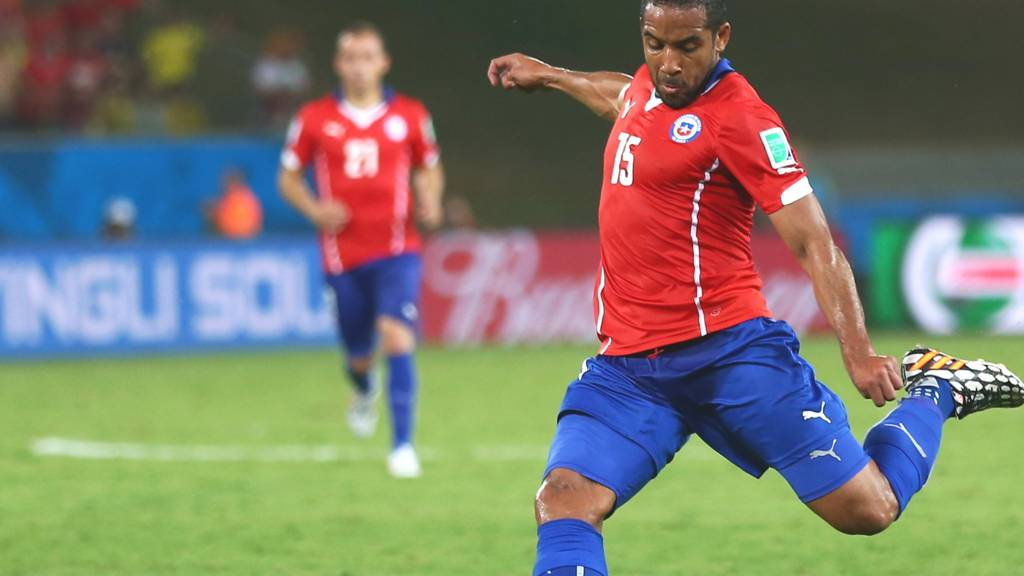 Wigan's Jean Beausejour scores for Chile to make it 3-1