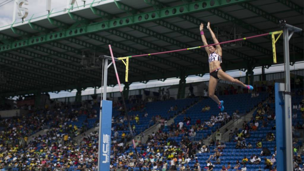 Jennifer Suhr, current Olympic champion competing in pole vault