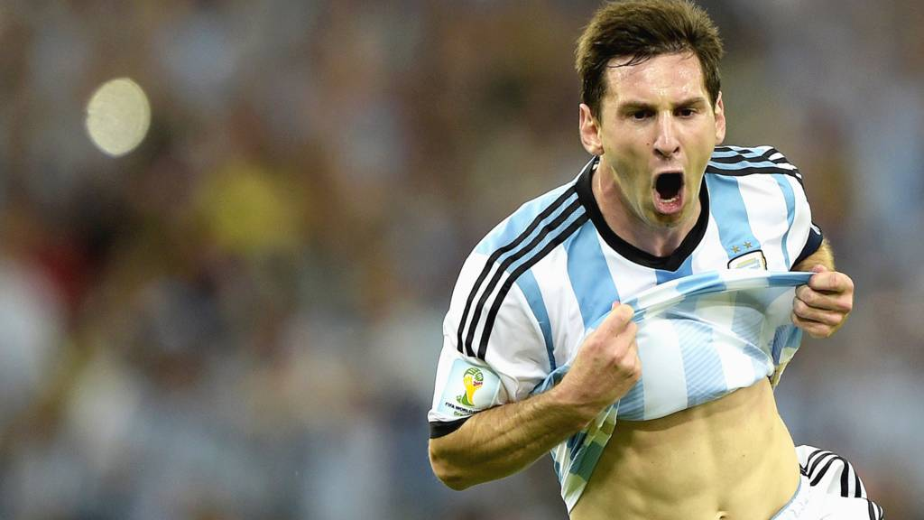 Lionel Messi celebrates after scoring his first goal of the 2014 Fifa World Cup against Bosnia Hercegovina