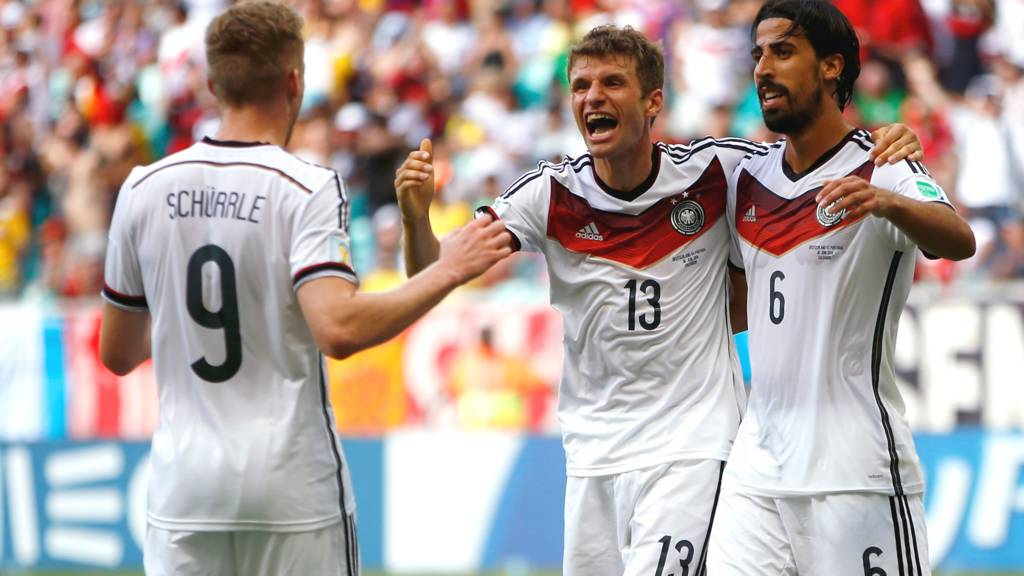 Thomas Mueller of Germany celebrates scoring his team's fourth goal and completing his hat trick